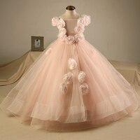 Vestido daminha Lovley Prenses Çiçek Kız Elbise Çiçekler Uzun Pageant Elbise Çocuklar Parti Elbise Abiye Pembe Özel