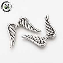 100pcs Tibetan Style Alloy Angel Wings Beads for Jewelry Making Cadmium & Lead Free Antique Silver Color 23x35x4.5mm Hole: 2mm