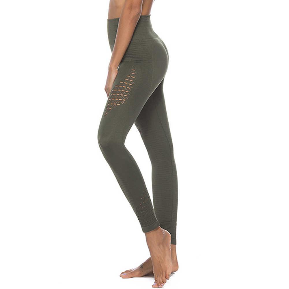 4 kolor kobiety panie legginsy jednolity kolor elastyczna Slim Fit Hollow otwory spodnie do jogi dla sportowe XR-Hot