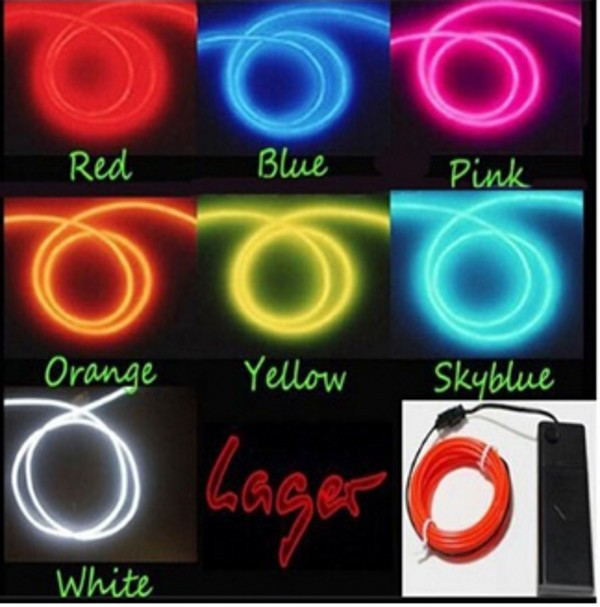 5M 3V Flexible Neon Light Glow EL Wire Rope tape Cable Strip LED Neon Lights  Shoes