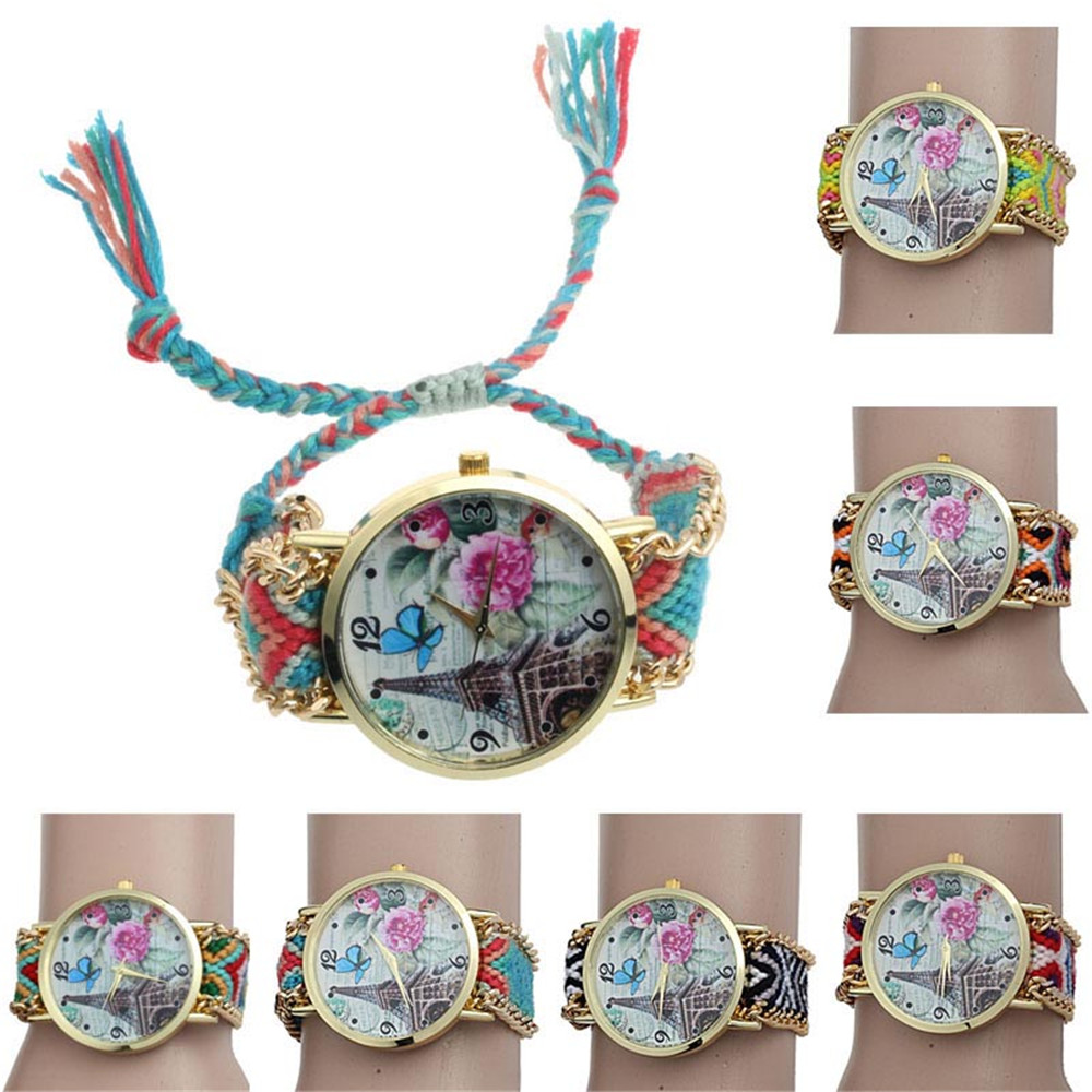 2017 Tower Flower Butterfly Pattern Weaved Rope Band Bracelet Quartz Watch Relogio Feminino Montre Femme Watch Men To Prevent And Cure Diseases Watches