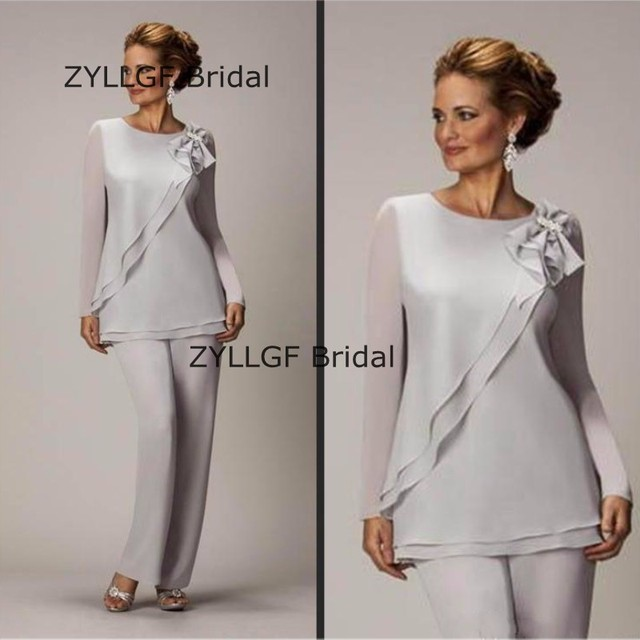 ZYLLGF Bridal New Mother Of The Bride Pant Suits Two Piece Chiffon ...