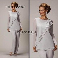 ZYLLGF Bridal New Mother Of The Bride Pant Suits Two Piece Chiffon Pants Suit For Wedding Clothing Plus Size Custom Made MB6