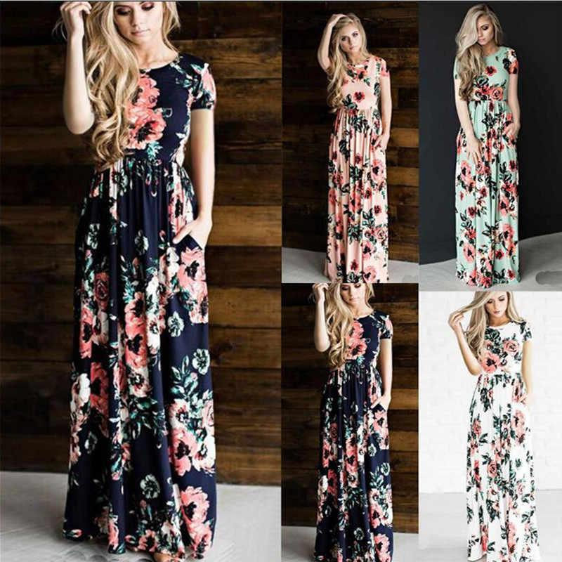 Liva Girl Vestido de playa bohemio de verano mujeres 2017 moda Floral mujeres largo Maxi vestido Vestidos Mujer vestido de fiesta de talla grande 3XL 50