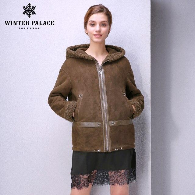 4a2831c34df Simple women fur coat Fashion Slim Fur women winter Sheep Shearing Coat  sheepskin coats With hat WINTER PALACE