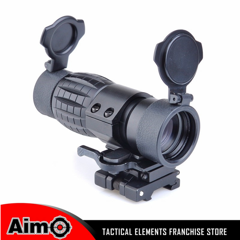 Tactical QD FTS 4x Magnifier Scope Optics Riflescope Fits Sight with Flip To Side Picatinny Weaver Rail Mount AO 5338 4x magnifier fts flip to side for eotech aimpoint or similar scopes sights with lens cover