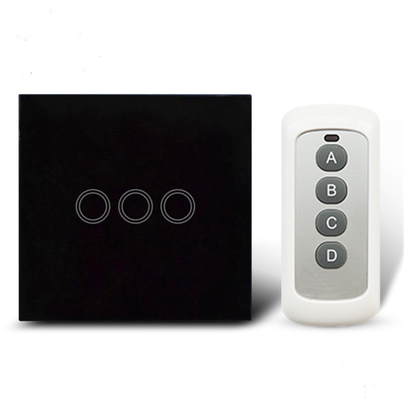 EU/UK 3 Gang 1 Way Remote Control Light Switch ,Crystal Glass Panel Touch Switch ,Touch Wall Light Switch For Smart Home RF 433 remote wireless touch switch 1 gang 1 way crystal glass switch touch screen wall switch for smart home light free shipping