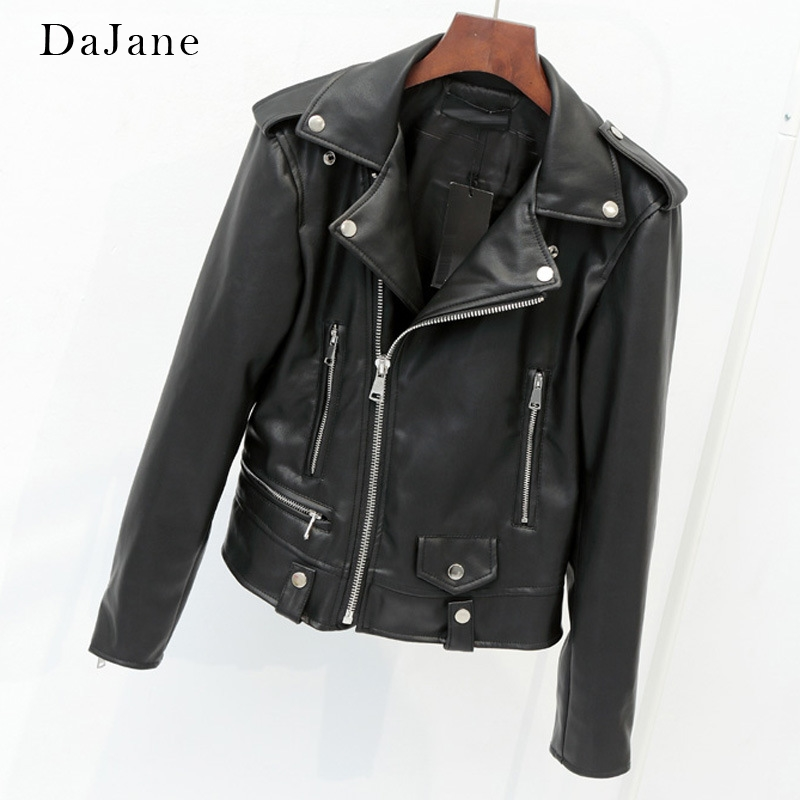 DaJane Spring New Ladies Short Lapels   Leather   Slp Style Pu   Leather   Jacket Slim Jacket Haining Large Size 4XL