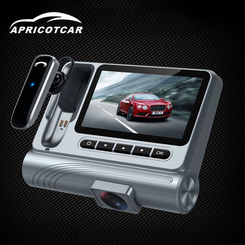 3 HD Screen Display Hidden Driving Recorder Dash Camera Cam DVR Hands-free Bluetooth Headset Night Vision Wide Angle CAR DVR