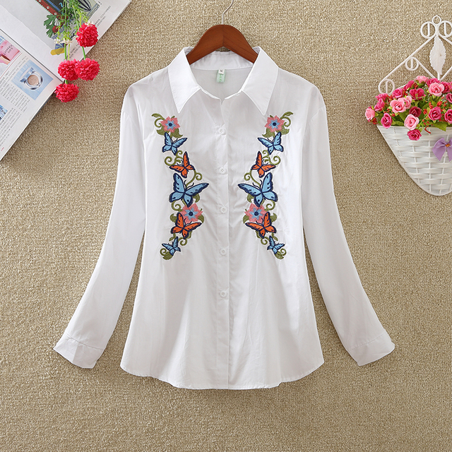 New Fashion flowers embroidered women's clothing women tops blusas  3