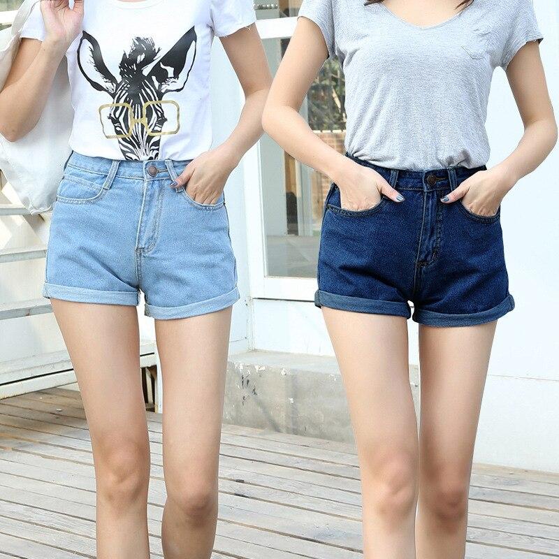new women high waist denim shorts female summer fashion loose big yards thin summer jeans curling slim fit short jeans women