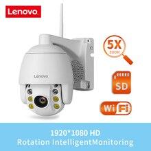 Lenovo cámara Mini PTZ de 2,5 pulgadas, cámara IP WIFI de 1080P, Zoom 5X para exteriores, cámara inalámbrica con lente fija de 4mm, Audio bidireccional IR de 60m