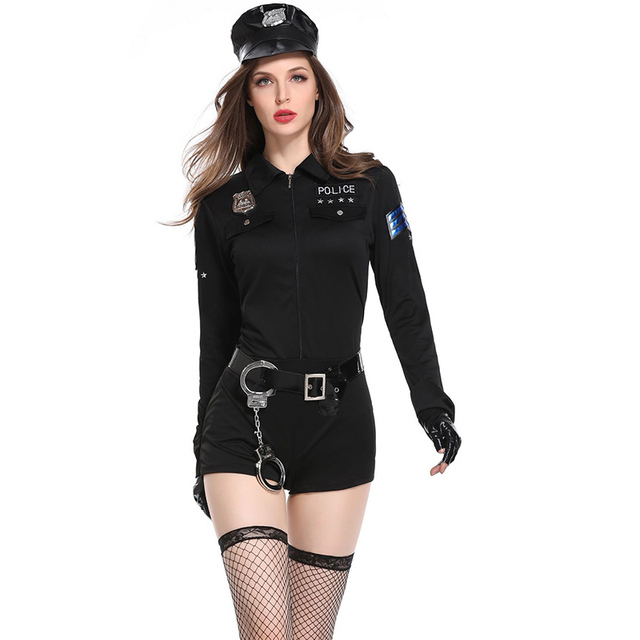 2a069c4f19e 3 Pcs Halloween Policewoman Costumes Adult Ladies Long Sleeve Black Female  Officer Cop Costume Uniform Party Sexy Police Costume