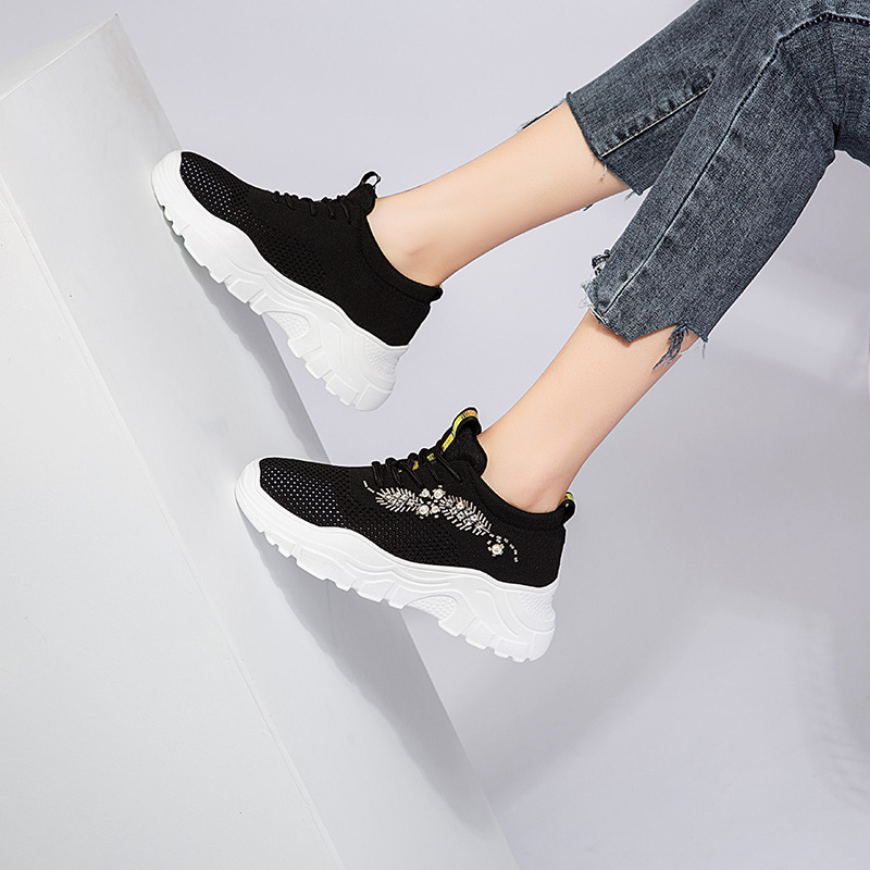 Dumoo Women Sneakers Shoes Spring Summer Breathable Casual Ladies Shoes Female Handwork Crystal Shoes Heel 6cm