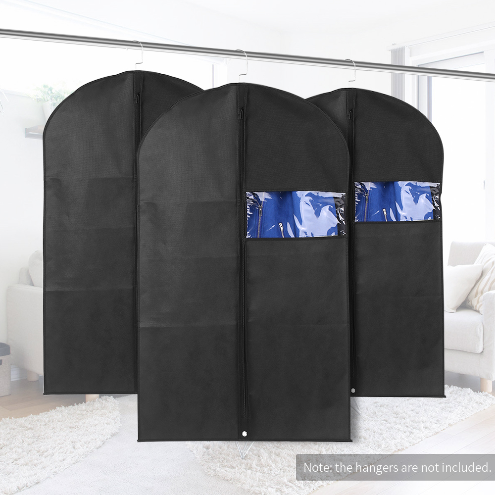 3pcs 60 * 100cm Non-Woven Dustproof Hanging Garment Bags Clothes Suit Organizers Covers with PVC Window Storage Bag for Closet