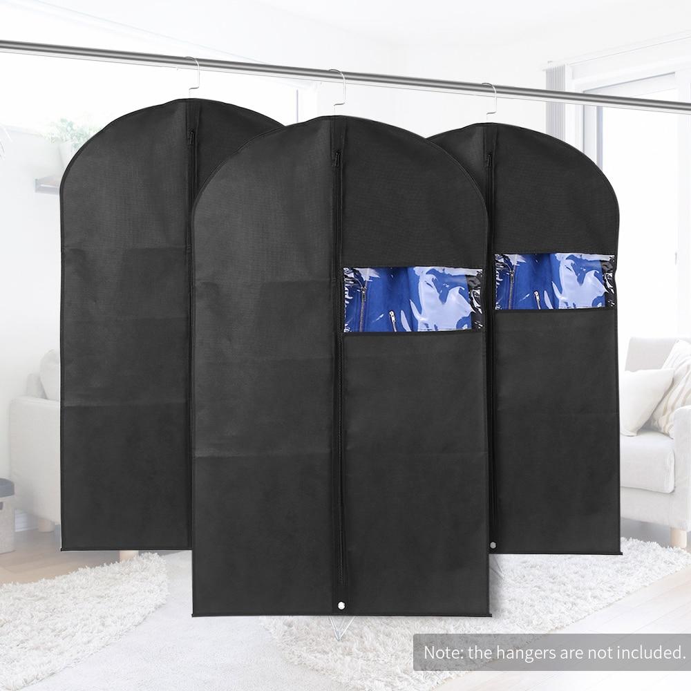3pcs 60 * 100cm Non-Woven Dustproof Hanging Garment Bags Clothes Suit Organizers Covers with PVC Window Storage Bag for Closet