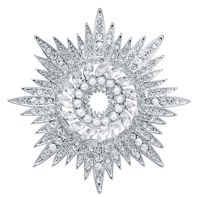Dequeen 1Pcs Newest Clear Crystal Snowflake Brooches For Women Jewelry  Sunflower Star Brooch Pin Clothing Accessories
