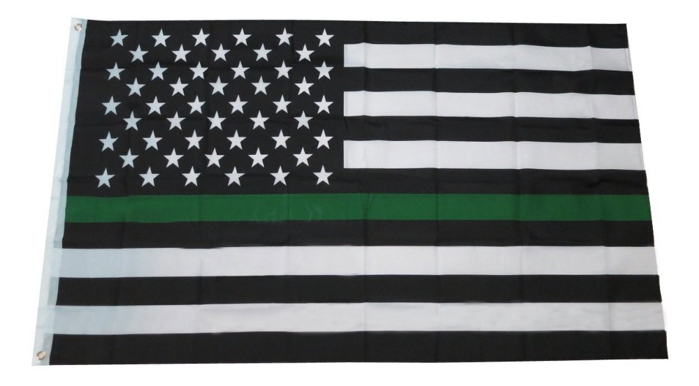 free shipping  green  Line usa Police Flags, 90*150cm Thin Blue Line USA Flag Black, White And Blue line Flag With Grommets