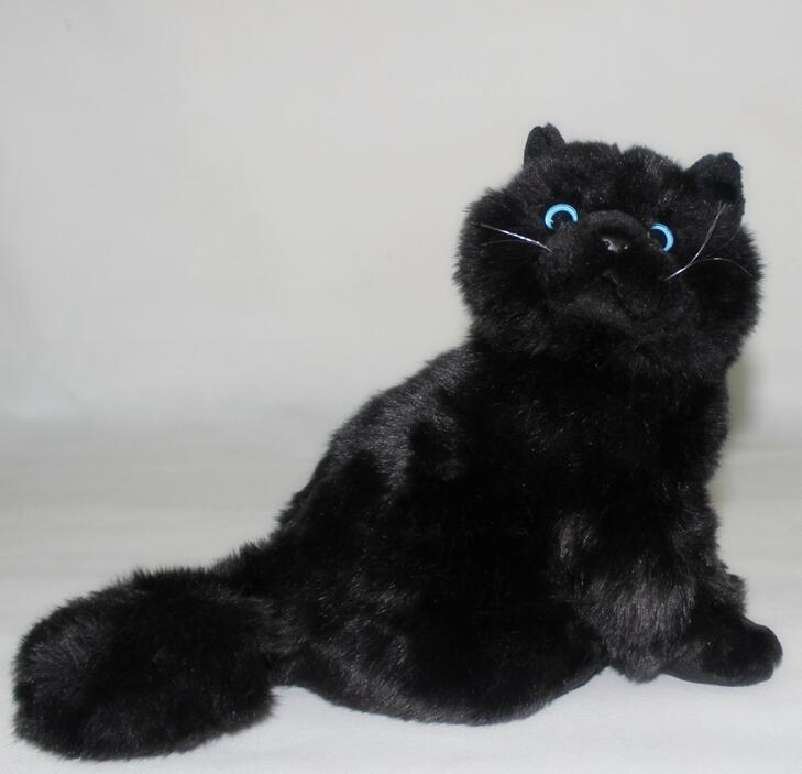 ФОТО Plush Cats Doll Toys Simulation  Black Persian Cat Stuffed Toy  Accessories  Car Ornaments  Children'S  Birthday Gifts Cute
