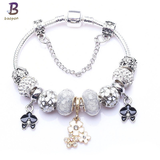 BAOPON High Quality Vintage Silver Plated Crystal Fine Bracelet For wome Fit Snake Chain Charm Bracelet DIY Jewelry Gift