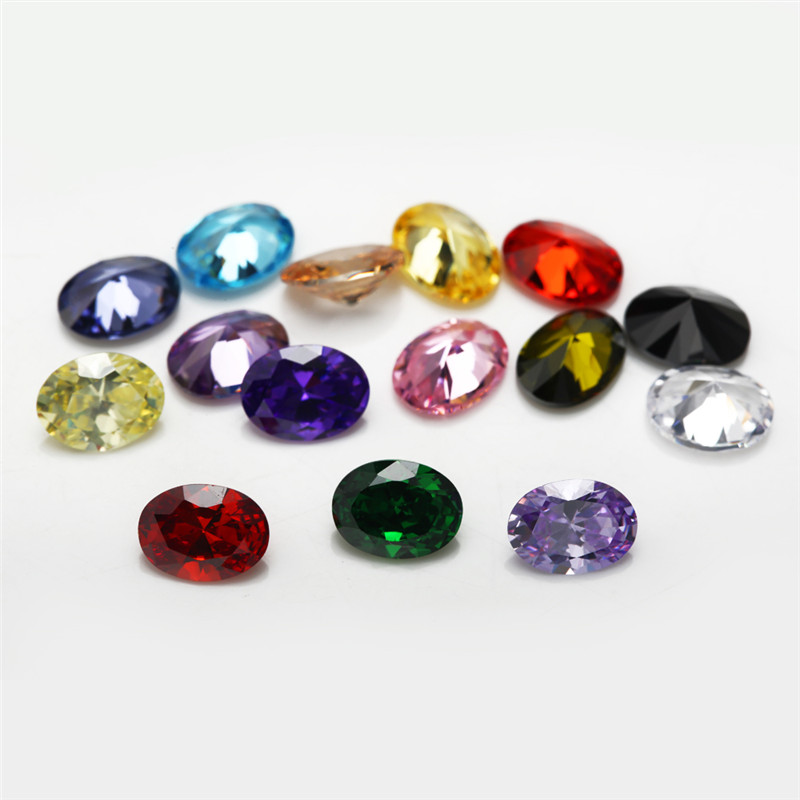 1PCS Per Colors Total 15pcs Size 4mm 10mm Oval Shape Loose Cubic Zirconia Stone Synthetic CZ in Beads from Jewelry Accessories