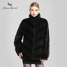 Athena Special 2016 Hot Selling Real Genuine NAFA Mink Short Fur Coat For Women Natural Regular Black Mink Jacket Parka Outwear