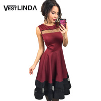 VESTLINDA Desigual Wine Red Dress Women 2017 Summer Sundress A Line O Neck Sleeveles Midi Mesh