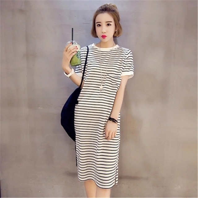 Korean Style Casual Dress Nice Summer Style O Neck Big Size Strip