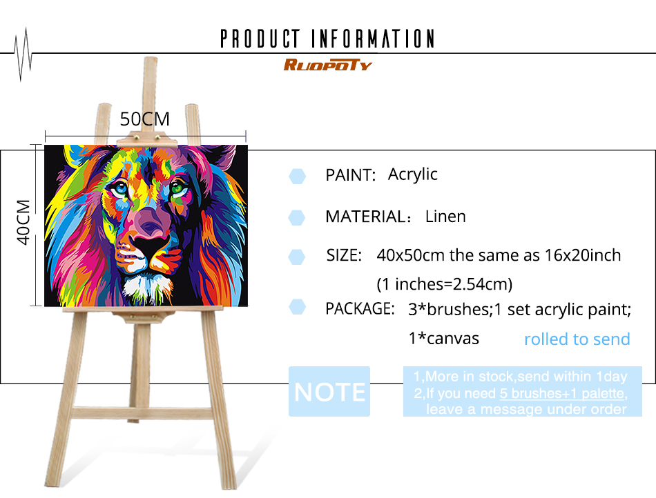 HTB1Sb7zg5CYBuNkHFCcq6AHtVXaE RUOPOTY Frame Colorful Lions Animals DIY Painting By Numbers Modern Hand Painted Oil Painting Unique Gift For Children 40X50cm