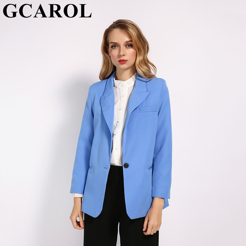 GCAROL 2019 Fall Winter Women Blue OL Suit Notched Collar Single Button 2 Pockets Elegant Blazer Handsome Streetwear Outfits