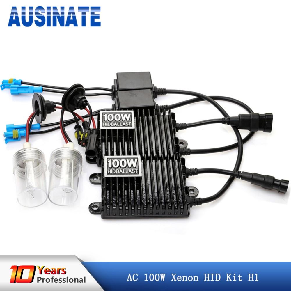 12 v 100 w xenon h1 le plus lumineux 4300 K 6000 K hid kit de conversion avec ballast carré, 100 w hid kit h1 ampoule au xénon
