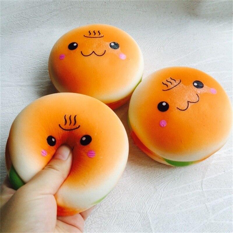 New 10CM Kawaii Jumbo Hamburger Cake Squeeze Emotion Emoji Squishy Slow Rising Scented Squishi Bread Bun Anti stress Kid Toys