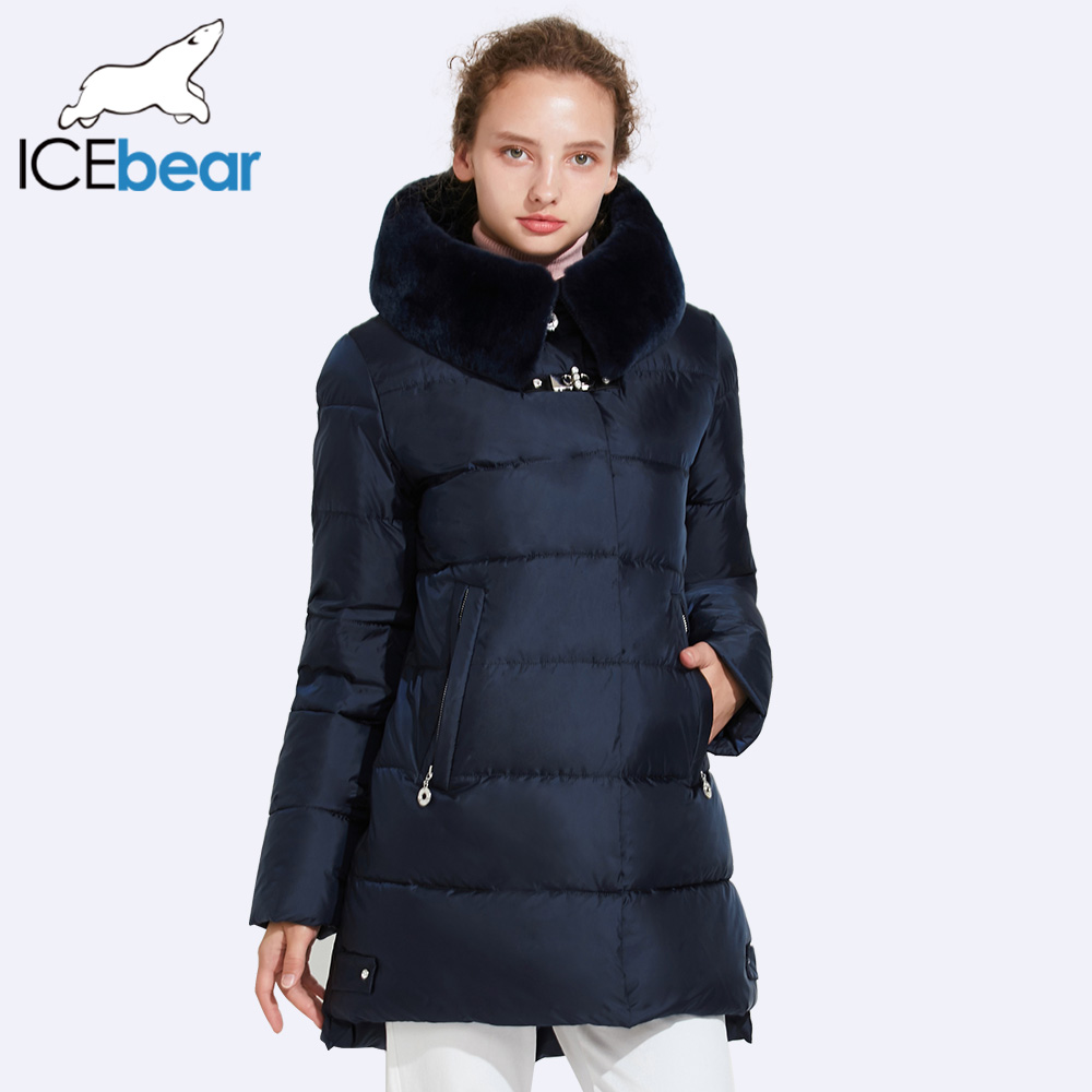 ICEbear 2017 Smooth Removable Fur Collar Winter Jacket Women Quality Buckles Decoration Women Quilted Parkas 17G6535 ...