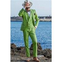 2019 Peak Lapel Prom Men Suits Green Suit Men Set Wedding Suits for Men Groom Groomsmen Tuxedos Smart Casual (Jacket+Vest+Pants)