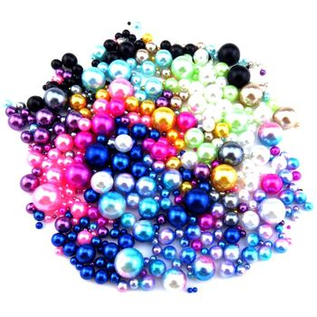 Round Rainbow Color Imitation Pearls No Hole Beads Crafts Decoration for DIY Bracelets Necklaces Jewelry Making 21688