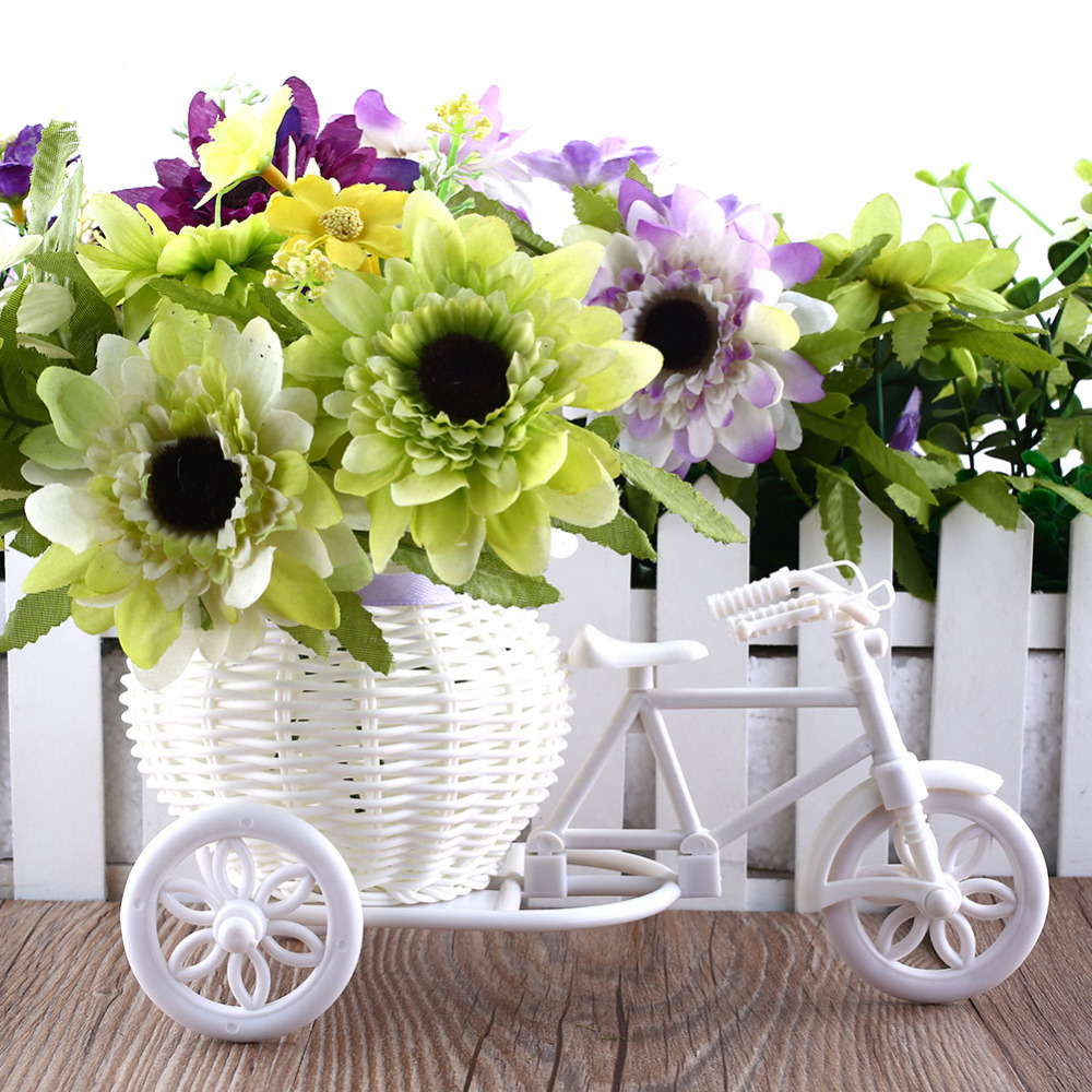 Flower plastic white tricycle bike design flower basket container flower plastic white tricycle bike design flower basket container for flower plant home weddding decoration vase 231259cm in artificial dried flowers mightylinksfo