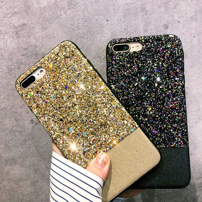 Bling Case For iPhone X10 Case 7 6 6S 8 Plus Coque PU Leather Shiny Hard Back Shell for Apple iPhone iPhone6Plus iPhone7plus