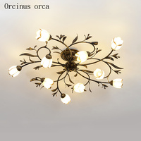 Американский творческая личность светодиодный потолочная люстра с цветами Гостиная Спальня Коридор средиземноморский сад Ретро Железный