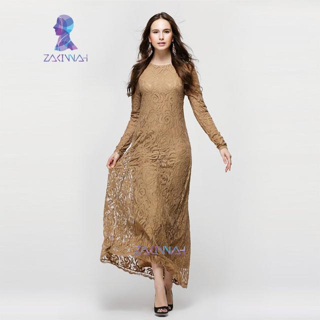 10016 señoras vestido de encaje completa de manga larga vestido de noche turco vestido ligereza con guarnición completa jilbabs y abayas