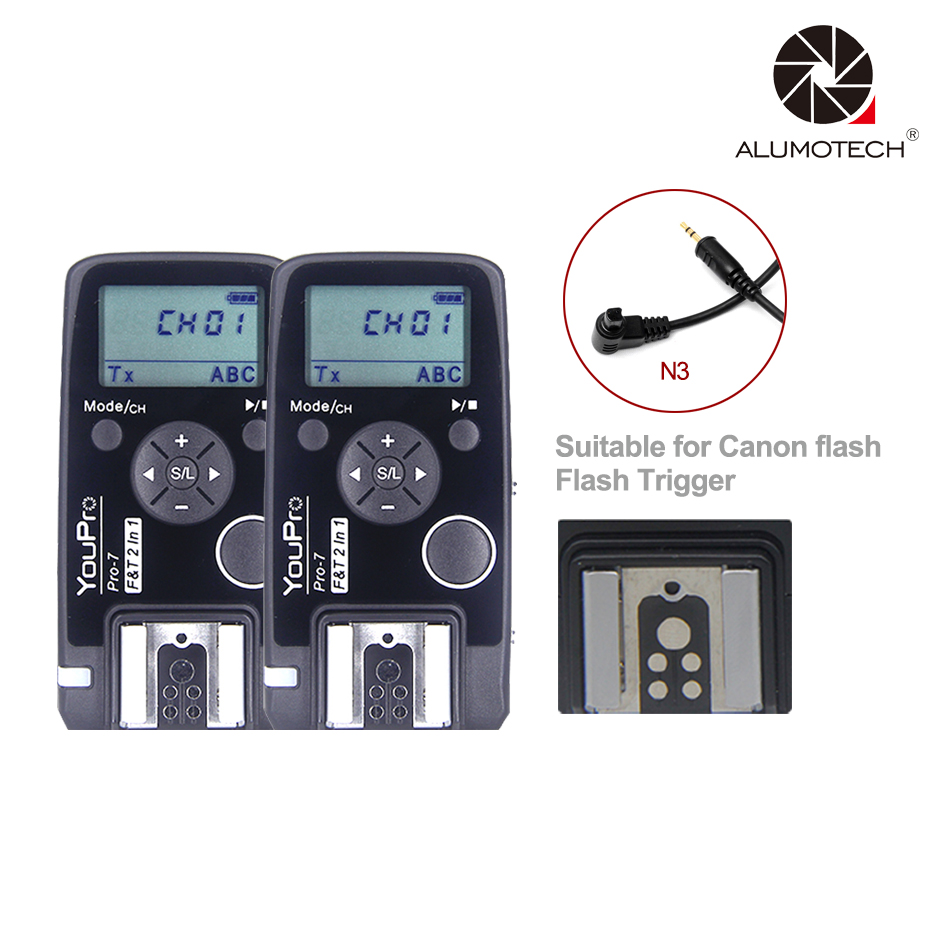 For Canon Flash Trigger + 2.4G Wireless Shutter Timer Remote N3 Shutter Cable for Canon 7D 6D 50D 50DII 50DIII 40D 30D 20D etc| | |  - title=