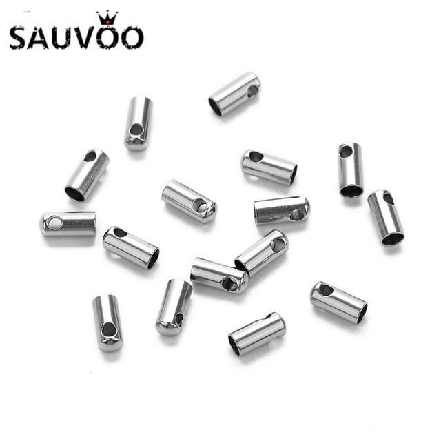 30pcs/lot Stainless Steel Silver Tone Plain Tune End Cap Tip without Loop for Round Leather Cord 1 2 3 4 5mm DIY Jewelry Making