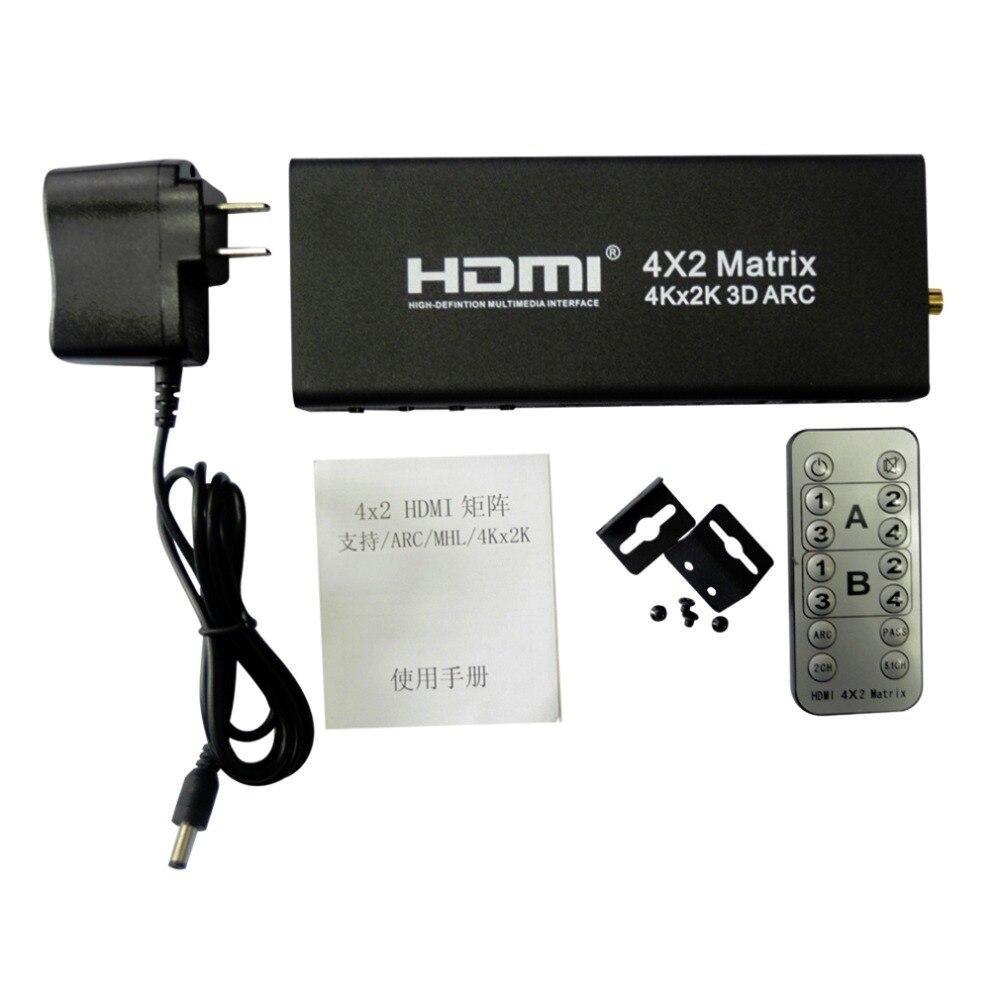 Prix pour Date Professionnel 4x2 HDMI Matrice HDMI Switcher Soutien ARC 4 K x 2 K HDMI Splitter Hub Box pour HDTV DVD Noir US Plug