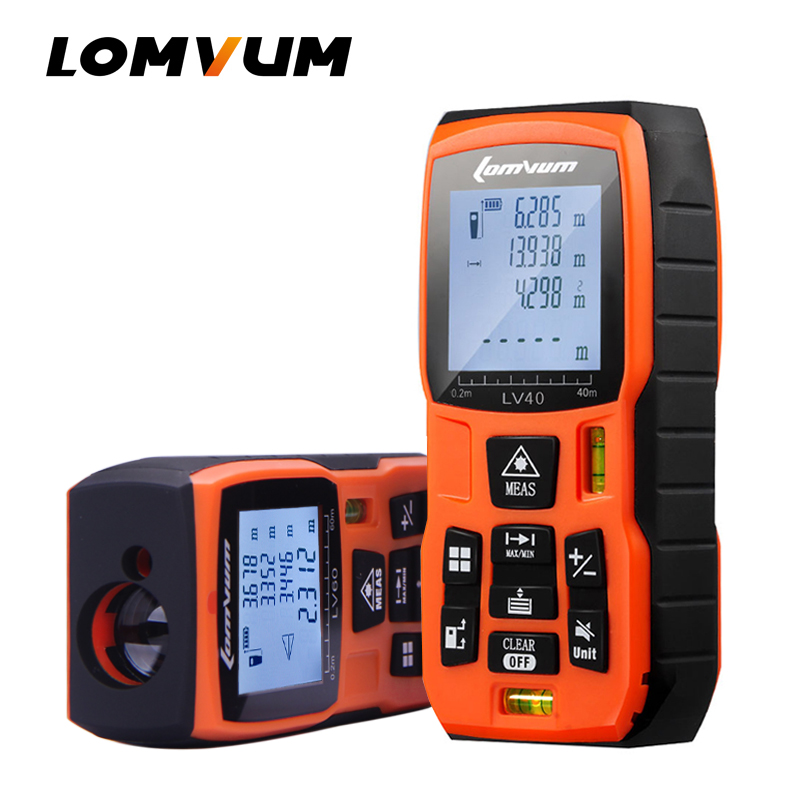 LOMVUM 80 60 40 m m m 100 m Telêmetro A Laser bateria-powered Digital Laser Medidor de Distância a laser gama localizador de fita medidor de distância