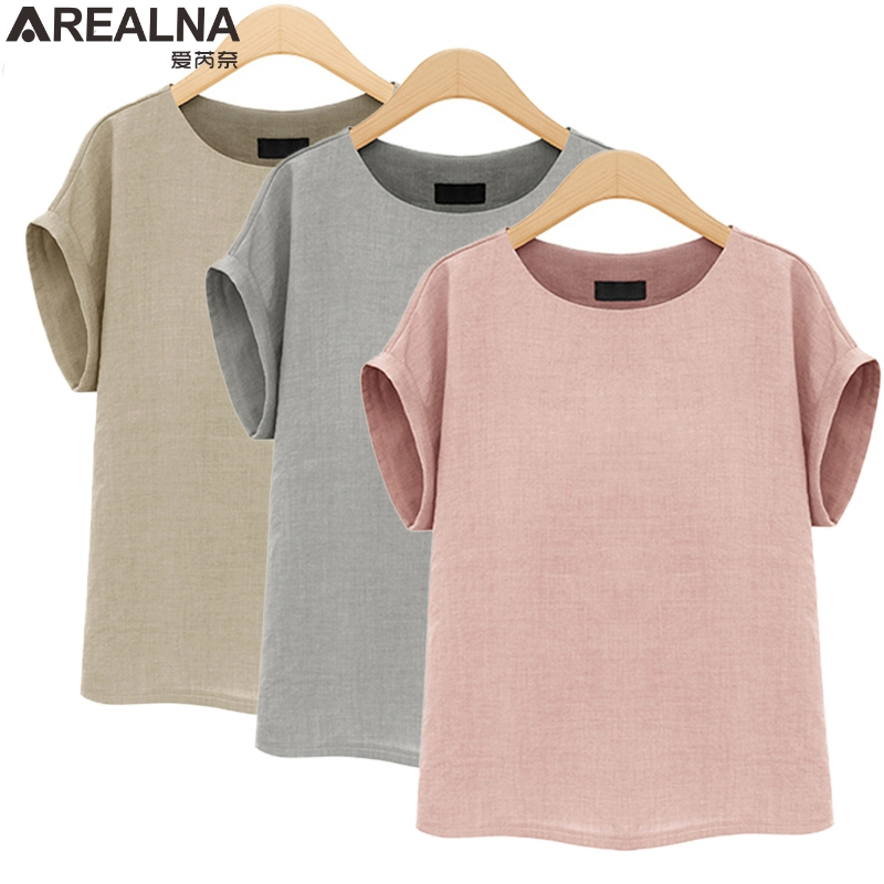 AREALNA Summer Fashion shirt women tops Short Sleeves Female Blouses Casual Loose office blouse Blusas femininas Plus Size 5XL 2