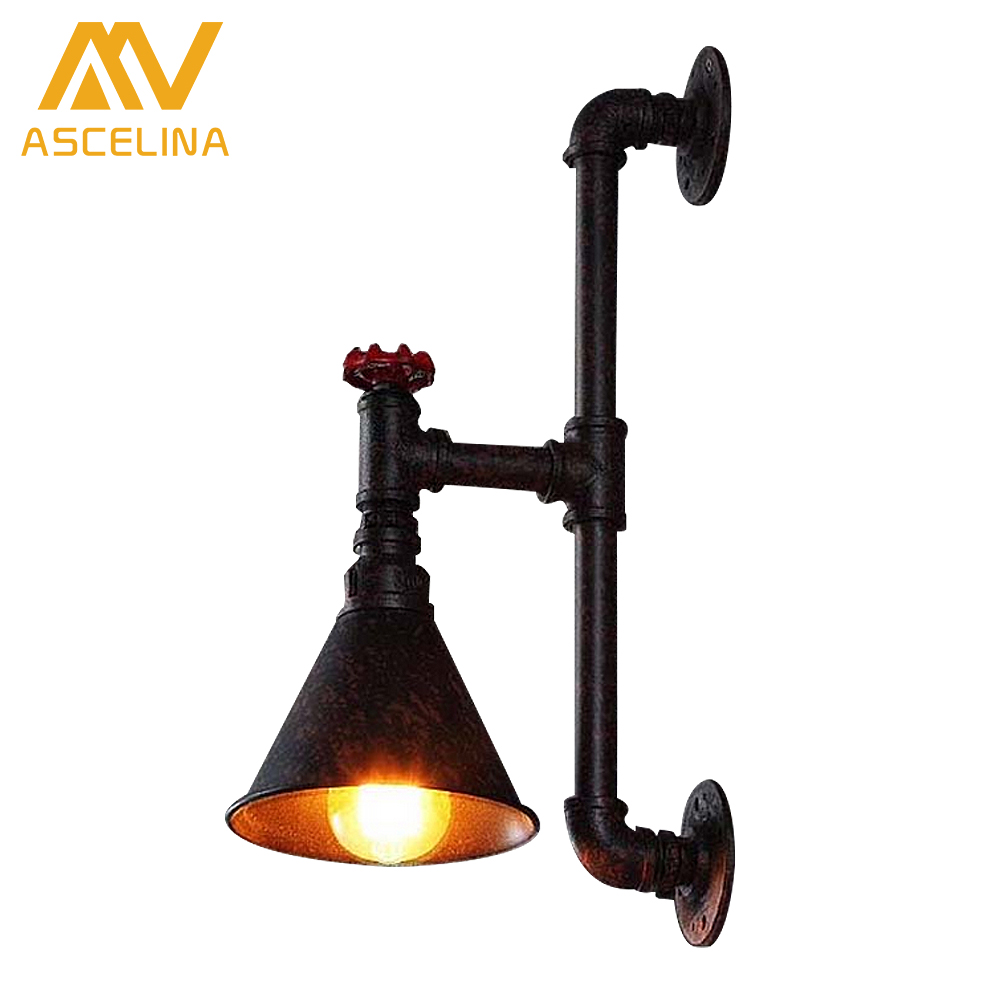 Simple creative personality retro bedside wall lamp iron wall lamp American balcony wall single head industrial water wall american country industrial retro bar cafe wall lamp wall lamp iron double balcony aisle