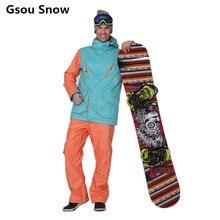 HOT 2016 Winter Gsou Snow Brand Mens Ski Snowboard Jacket and Pants Ski Suit Men Warm Skiing Chaqueta Esqui Hombre