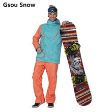 HOT 2016 Winter Gsou Snow Brand Mens Ski Snowboard Jacket and Pants Ski Suit Men Warm Skiing Chaqueta Esqui Hombre