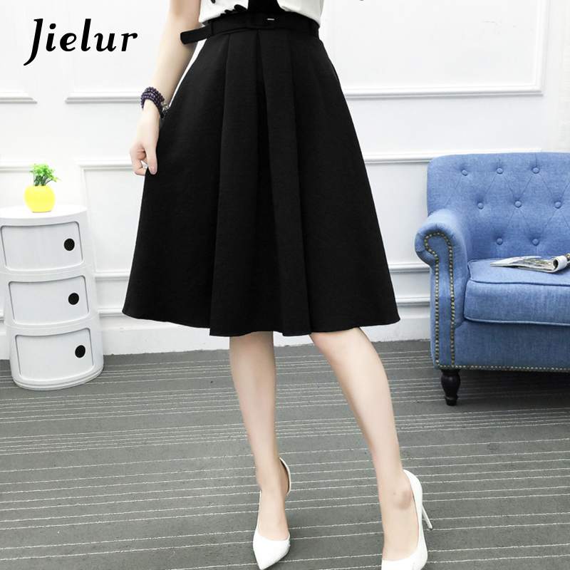 Jielur 2019 New Korean Office Lady Sashes Fashion Saias Female Summer All-match Chic A-line Skirts Pink Army Green Bottoms Women