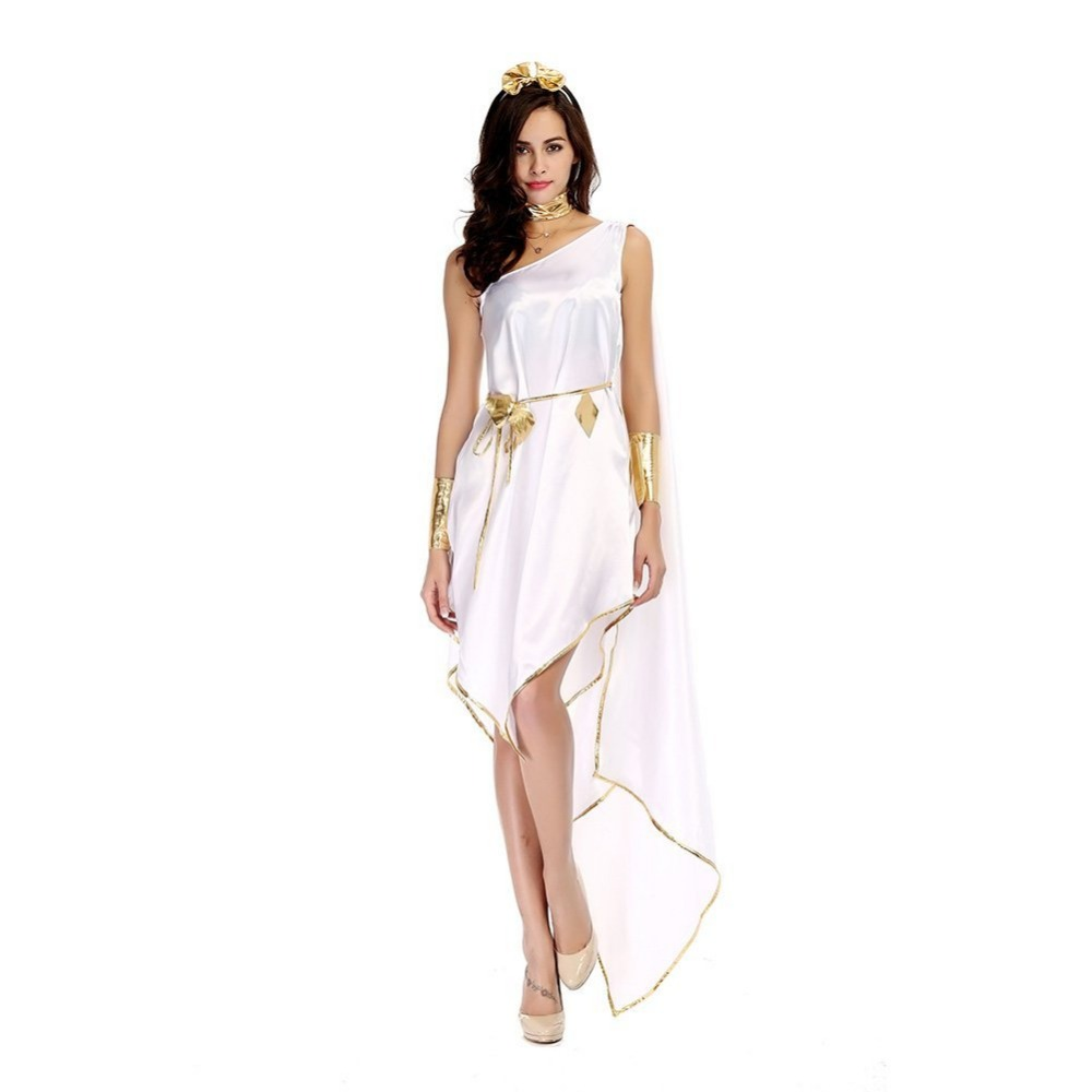 2018 New Arrival adult woman halloween costumes Greek Goddess Cosplay Clothes Set White Loose Dress for party carnival