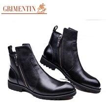 GRIMENTIN Elegant Men Boots Ankle Boots Luxury Genuine Leather Black Burgundy Designer Motorcycle Work Boots Winter Shoes